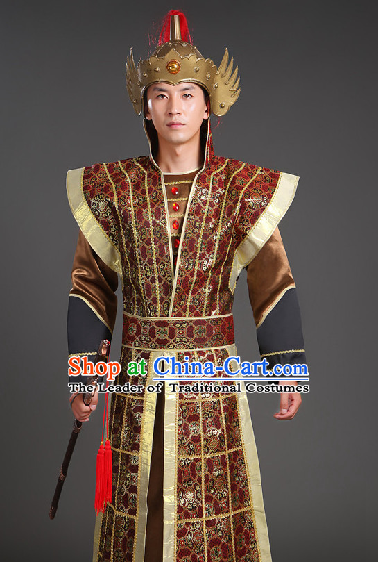 Chinese Ancient General Superhero Body Armor Fabric Costumes Complete Set for Men