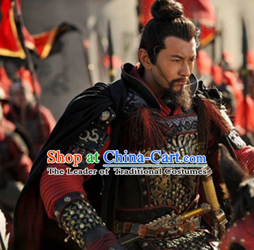 Chinese Ancient Suphero Body Armor Costumes, Long Mantle and Helmet Complete Set for Men