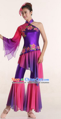 One Shoulder Chinese Festival Celebration Fan Dance Costumes and Headdress Complete Set for Women