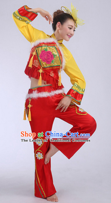 Yellow Red Chinese Folk Fan Dancing Costumes and Headdress Complete Set for Women
