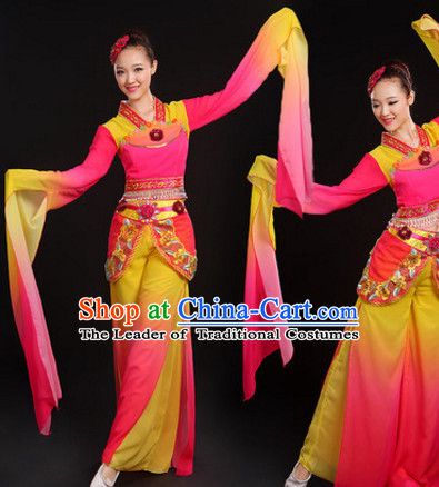 Long Sleeves Chinese Classical Dance Costumes Dancing Outfits and Hair Jewelry Complete Set for Women or Girls