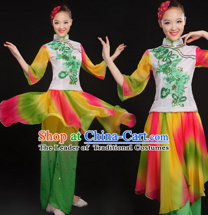 Chinese Classical Folk Dance Costumes Dancing Outfits and Hair Decorations Complete Set for Women or Girls