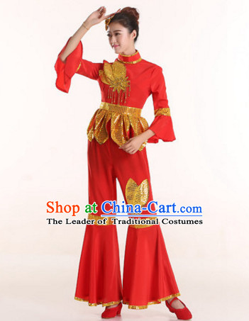 Chinese Stage Performance Ribbon Dance Costume and Headdress Complete Set for Women