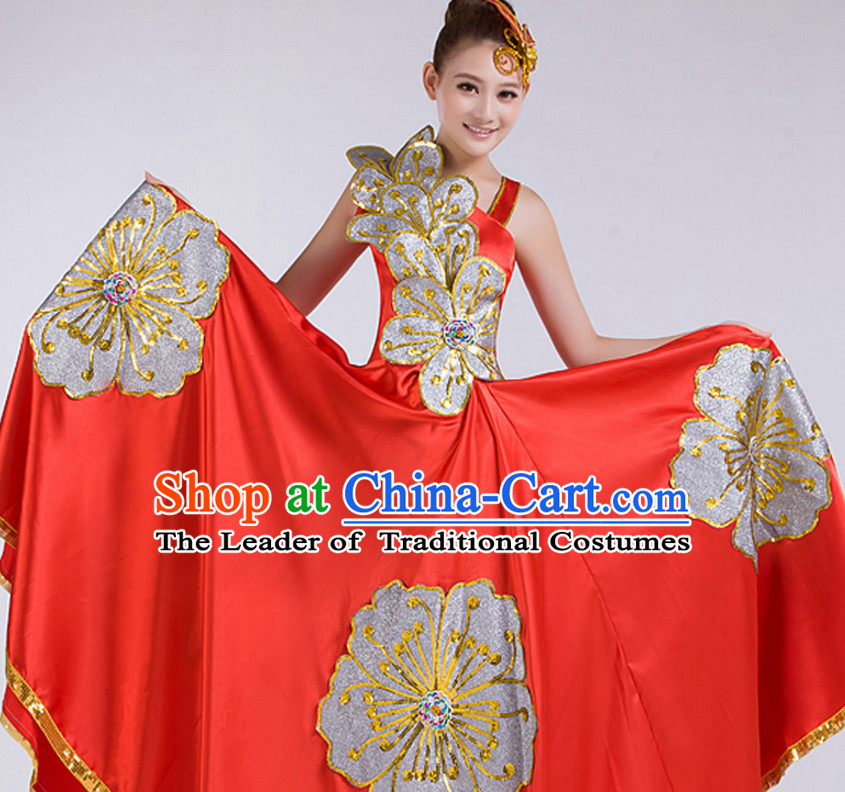 Chinese Stage Performance Flower Dance Costume and Headdress Complete Set for Women
