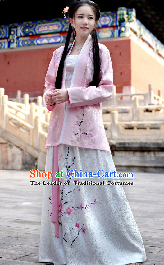 Chinese Han Dynasty Clothing and Headdress Complete Set for Women