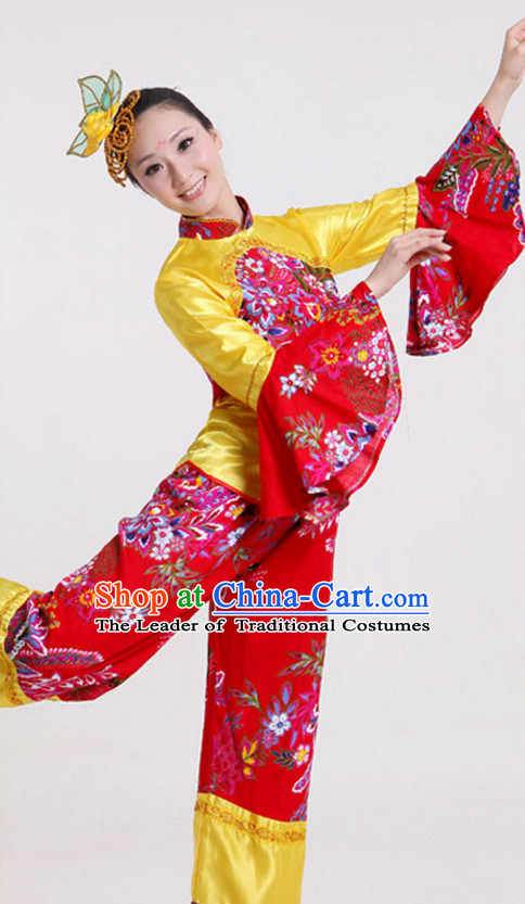 Chinese Classical Dance Costumes and Headdress Complete Set for Children Girls