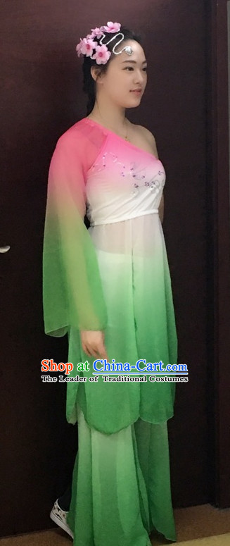 One Shoulder Chinese Stage Performance Classical Dancing Costumes and Headdress Complete Set for Women Girls