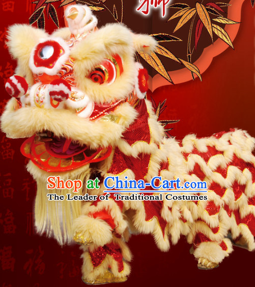 Big Business Opening Ceremony 100% Natural Long Wool Lion Dancing Equipment Complete Set