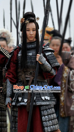 Ancient Chinese General Superheroine Body Armor Costumes Complete Set for Women