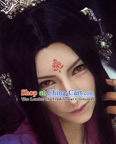 Chinese Ancient Male Style Deep Brown Long Wigs