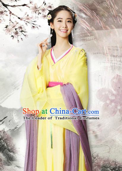 Chinese Ancient Style Princess Hanfu Clothes and Hair Jewelry Complete Set