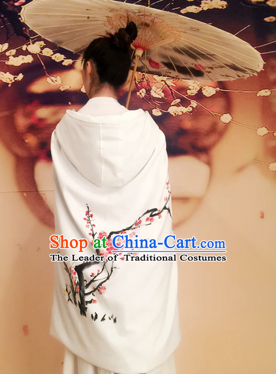 Short Traditional Chinese Style Mantle Cape with Hands Painted Plum Blossom