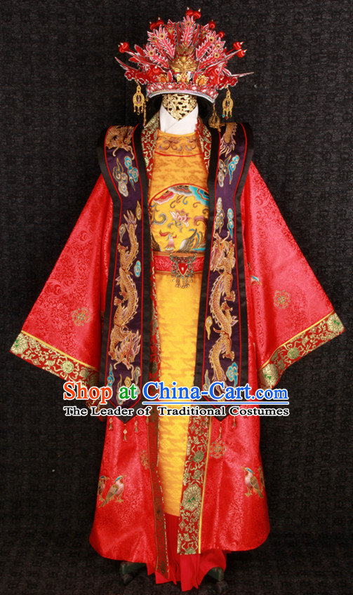 Top Chinese Ancient Style Embroidered Phoenix Wedding Dresses and Phoenix Crown Complete Set for Brides