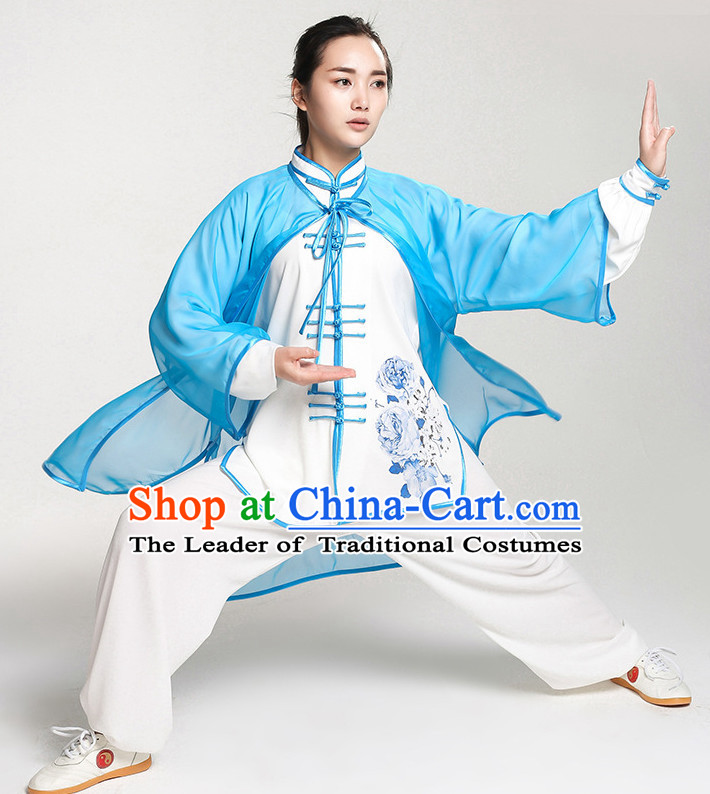 Top Chinese Traditional Taiji Tai Chi Clothes Uniform Complete Set for Women or Girls