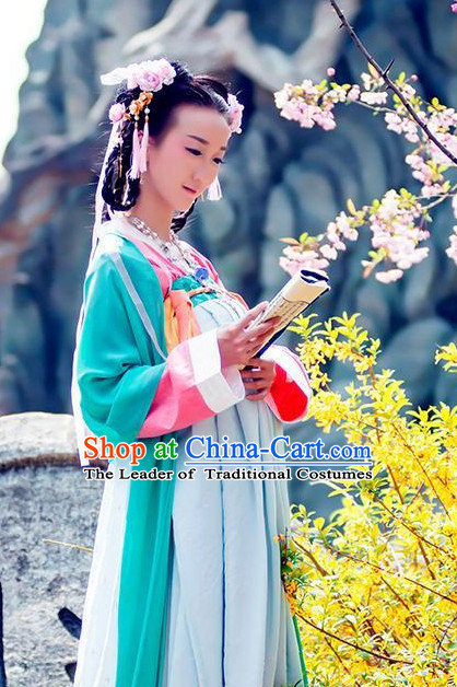 Traditional Chinese Tang Dynasty Dress Chinese Hanfu Clothing Cloth China Attire Oriental Dresses Complete Set for Women
