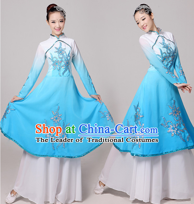 Traditional Chinese Color Transition Gradient Dance Costumes Cloth China Attire Oriental Dresses Complete Set for Women