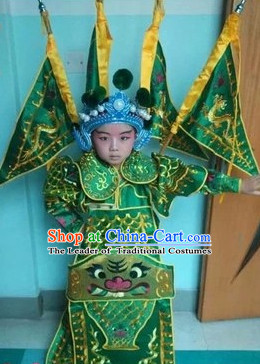 Chinese Beijing Opera Costumes Peking Opera Wusheng Costume Complete Set for Kids