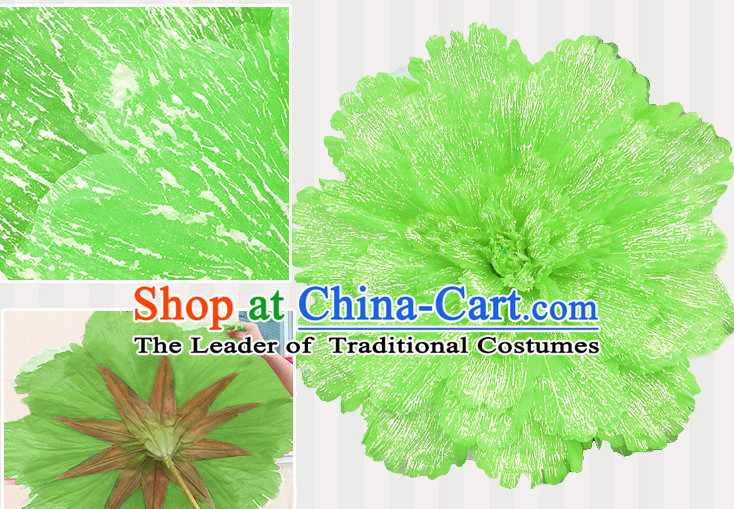 Light Green Traditional Dance Props Flower Umbrella Dancing Prop Decorations for Men Women Adults