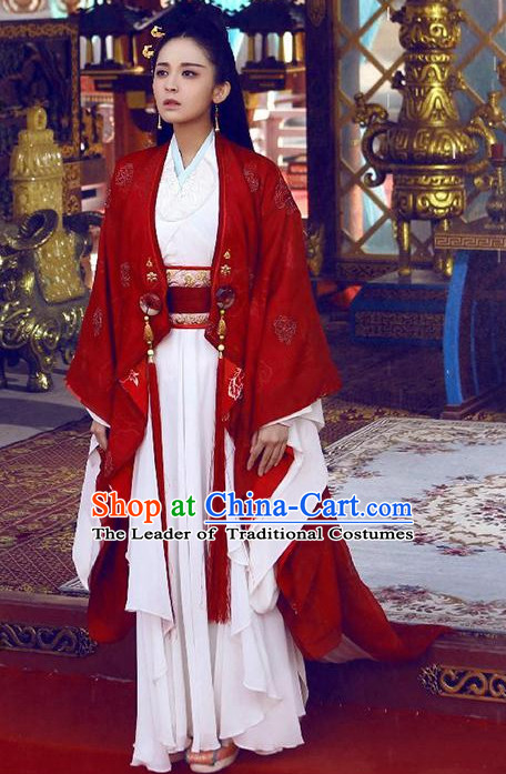 Ancient Chinese Embroidered Lady Garment and Hair Jewelry Complete Set for Women