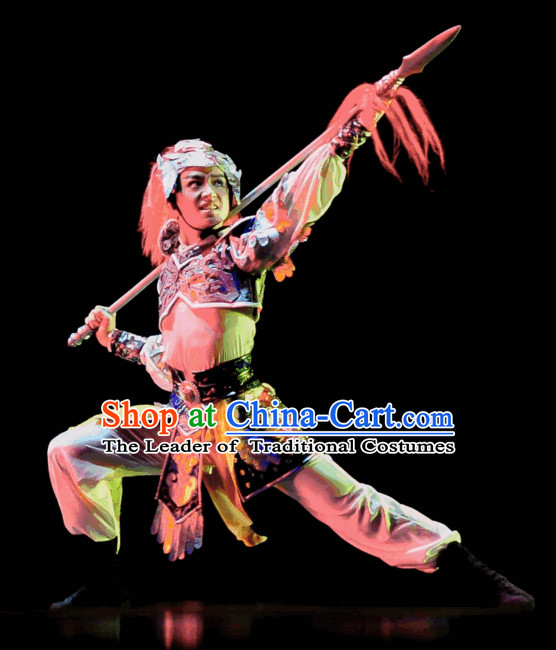 Chinese Classical Dancing Superhero General Dance Costumes and Helmet Complete Set for Men