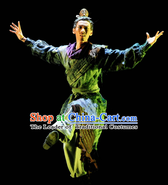 Chinese Classical Dancing Superhero Warrior Costumes Complete Set for Men