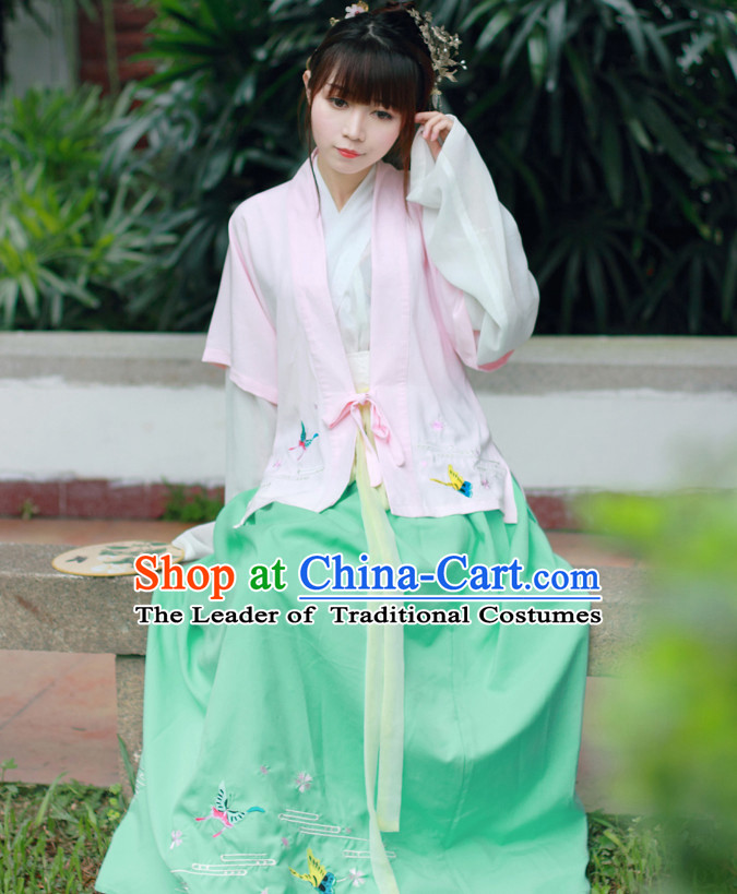 Traditional Chinese Han Dynasty Noblewoman Blouse Skirt and Hair Jewelry Complete Set for Women