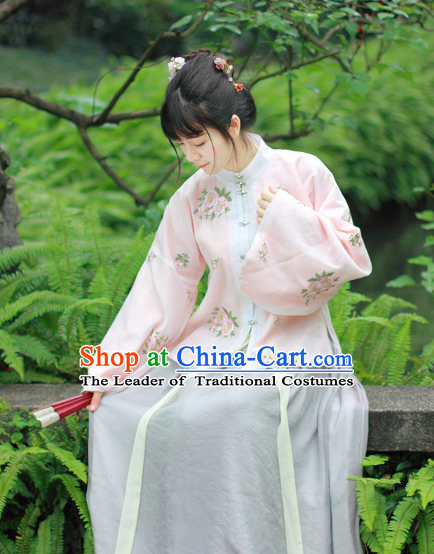 Traditional Chinese Ming Dynasty Noblewoman Clothes Blouse Skirt and Hair Jewelry Complete Set for Women