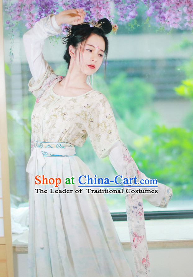 Traditional Chinese Tang Dynasty Suit Clothing Dresses Skirt and Hair Jewelry Complete Set for Women