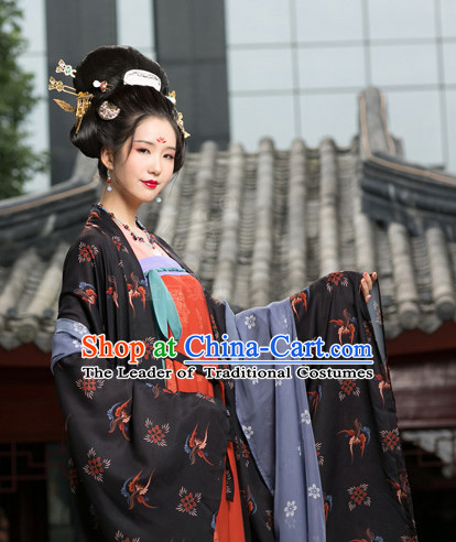 Traditional Chinese Ancient Tang Dynasty Costumes Clothing and Headgear Complete Set for Women
