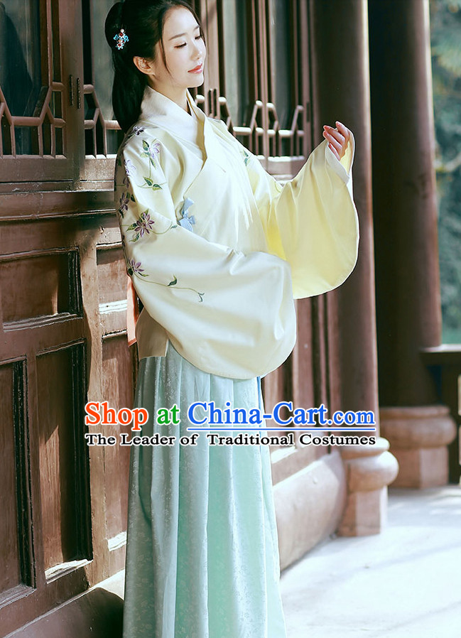 Traditional Chinese Ancient Ming Dynasty Costumes Clothes and Headgear Complete Set for Women
