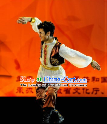 Xinjiang Chinese Traditional Dance Costume Folk Dancing Costumes Traditional Chinese Dance Costumes Asian Dance Costumes Complete Set for Men