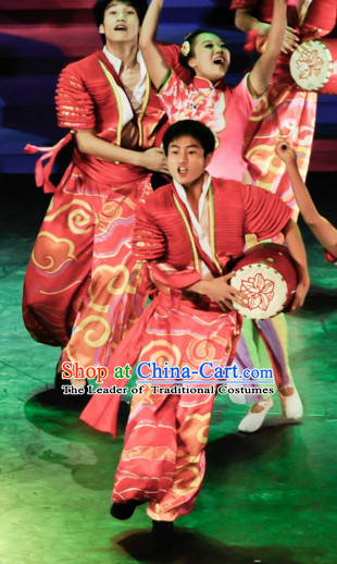 Chinese Classic Drum Dance Costume Folk Dancing Costumes Traditional Chinese Dance Costumes Asian Dancewear Complete Set for Men Boys