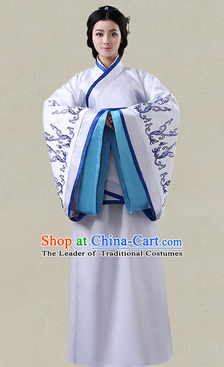 Blue Hanfu Clothing Custom Traditional Han Dynasty Chinese Hanfu Dreses Han Clothing Hanzhuang Historical Dress and Accessories Complete Set