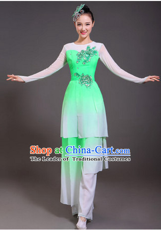 Chinese Spring Light Green Dance Costumes and Headwear Complete Set for Women