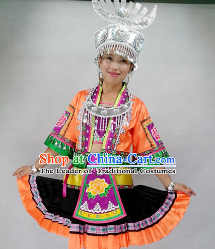 Chinese Miao People Folk Dance Ethnic Dresses Traditional Wear Clothing Cultural Dancing Costume Complete Sets for Women