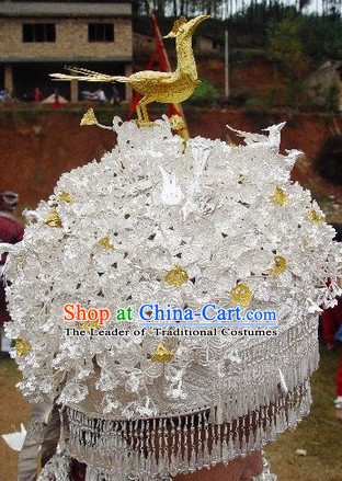 Chinese Miao Tribe Handmade Silver Phoenix Hat for Women