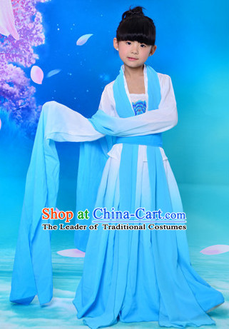 Ancient Chinese Water Sleeves Classical Group Dancer Costumes Complete Set for Kids