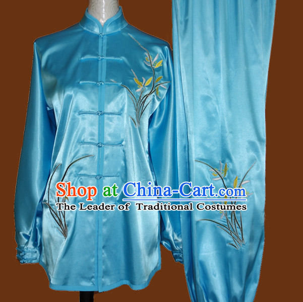 Top Gold Asian Championship Embroidered Phoenix Kung Fu Martial Arts Uniform Suit for Women Men