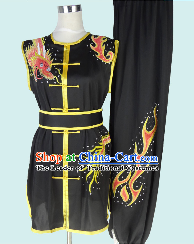Sleeveless Top Gold Asian Championship Embroidered Dragon Kung Fu Martial Arts Uniform Suit for Women Men
