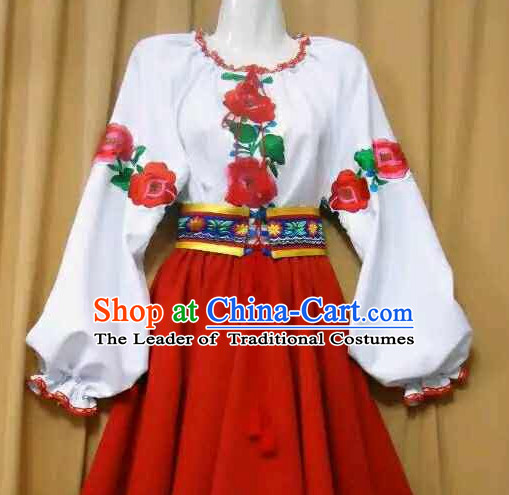 Russian Dance Dress Clothing Dresses Costume Ethnic Dancing Cultural Dances Costumes Complete Set for Women