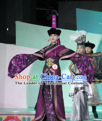 Traditional Mongolian Clothing Ancient Ethnic Empress Princess Clothes and Hat Complete Set for Women