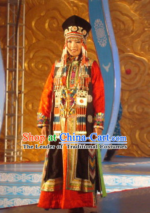 Traditional Mongolian Clothing Ancient Ethnic Princess Clothes and Hat Complete Set for Women