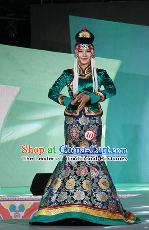Top Traditional Mongolian Clothing Ancient Ethnic Queen Garments and Hat Complete Set for Women