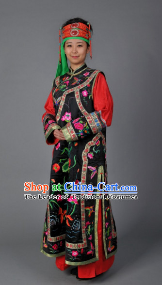 Top Traditional Mongolian Clothing Ancient Ethnic Queen Garments and Headgear Complete Set for Women