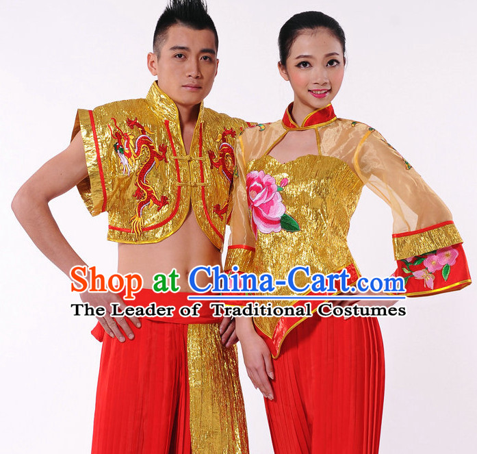 Traditional Chinese Fan Dancer Costume for Men