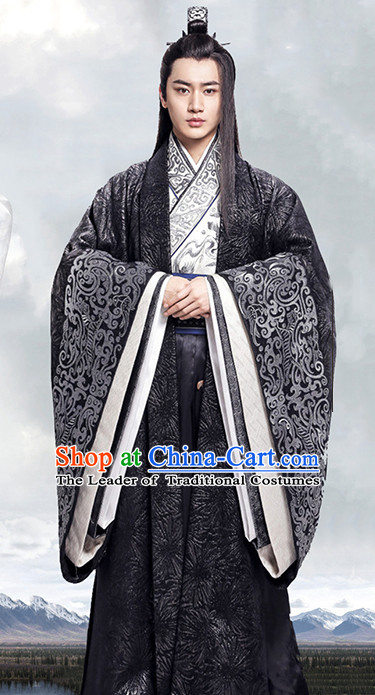 Supreme Chinese Nobleman Costumes Clothing and Coronet Complete Set for Men