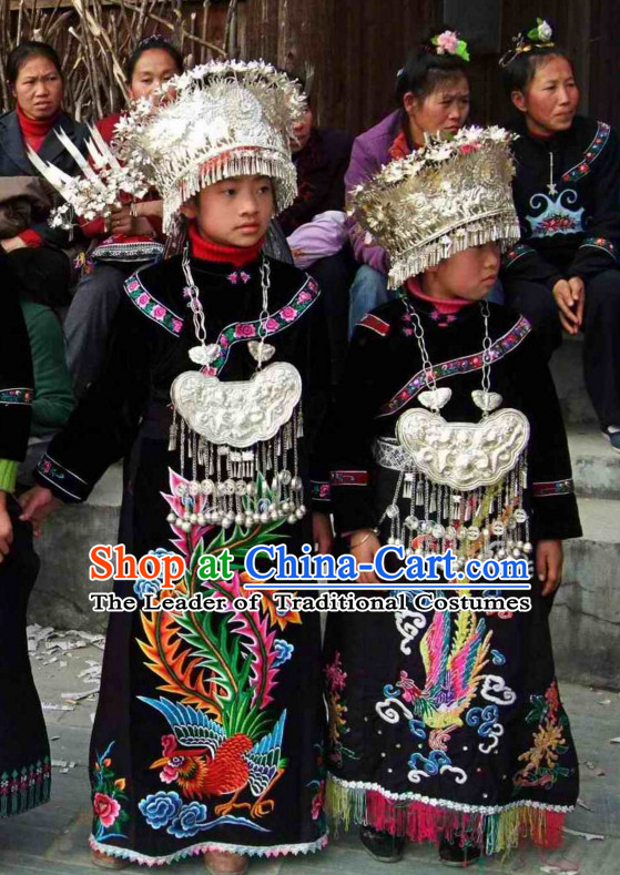 Chinese Miao Ethnic Clothing Minority Clothing Cultural Costumes and Hat Complete Set for Kids