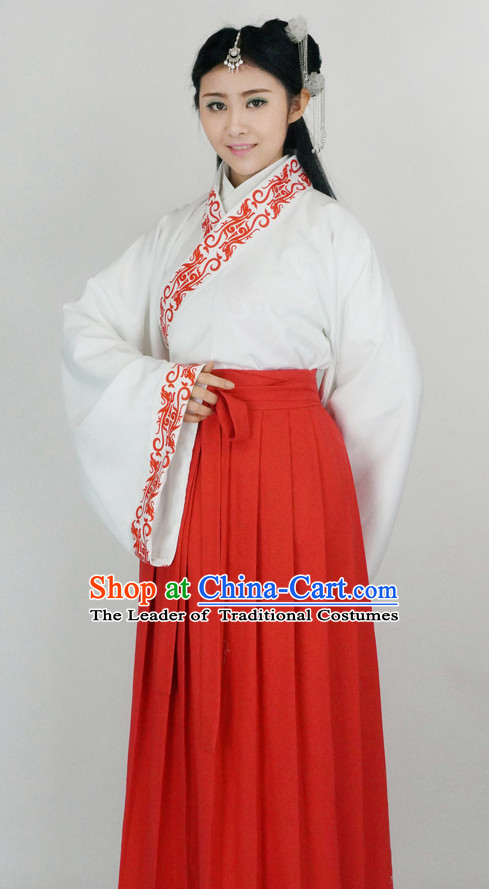 Ancient Chinese Han Dynasty White Clothing Chinese National Costumes Ancient Chinese Costume Traditional Chinese Clothes Complete Set for Women Girls