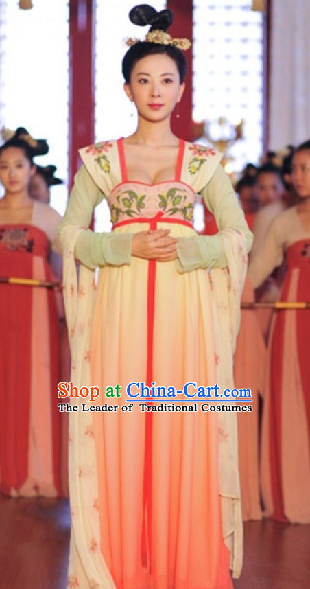 Top Chinese Ancient Tang Dynasty Empress Costume in Women's Theater and Reenactment Costumes Ancient Chinese Clothes and Hair Jewelry Complete Set for Girls Children Adults