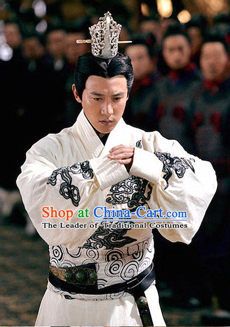 Ancient Chinese Prime Minster Men's Clothing _ Apparel Chinese Traditional Dress Theater and Reenactment Costumes and Coronet Complete Set for Men